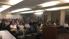 Residents listen to a gather for a public hearing on the draft rules for social cannabis consumption areas, June 13, 2017. (Courtesy of Denverite Now podcast host Paul Karolyi )