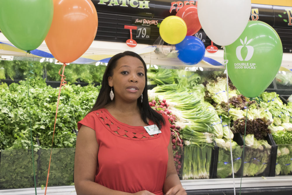 Casondra Webb-Cole, program manager at Share Our Strength's Cooking Matters at the kick off of Double Up Food Bucks, June 14, 2017. (Courtesy of LiveWell Colorado)