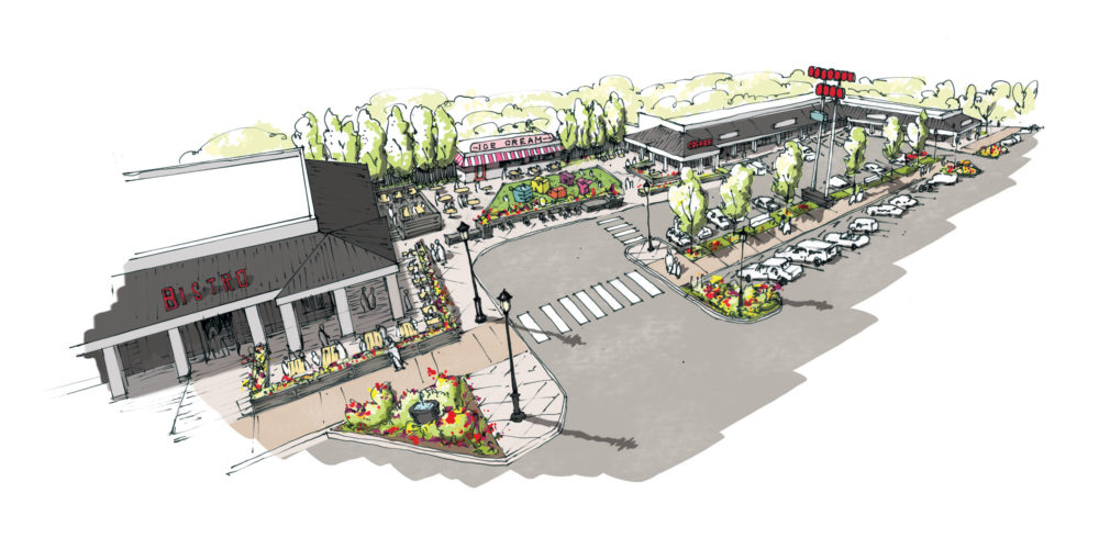 A rendering of Oneida Park, a neighborhood retail center in Park Hill. (Courtesy Photo)