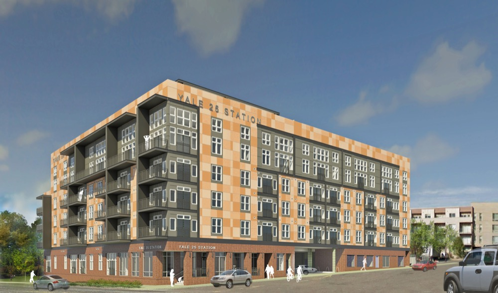 A rendering of Yale 25 Station, a residential development along East Yale Avenue. (Courtesy of OZ Architecture)