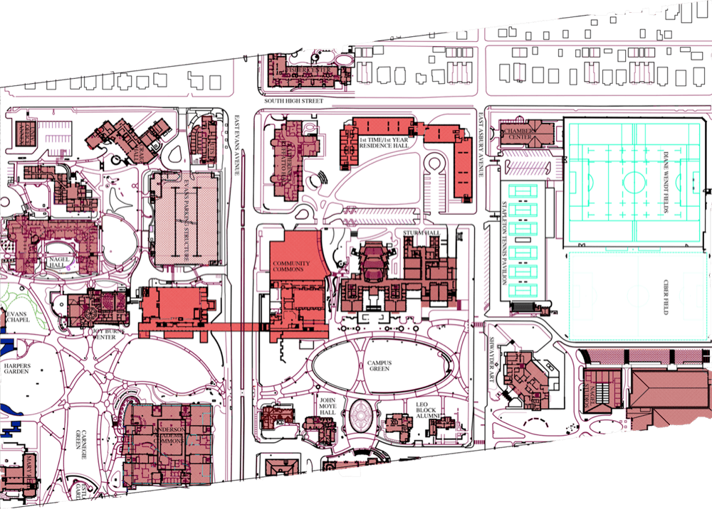 The buildings in light red are some of the developments the University of Denver is planning on campus. (Courtesy of the University of Denver)