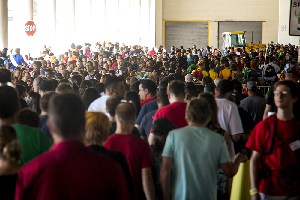 Massive crowds line up for day two of Denver Comic Con, July 1, 2017. (Kevin J. Beaty/Denverite)  denver comic con; denverite; kevinjbeaty; denver; colorado;