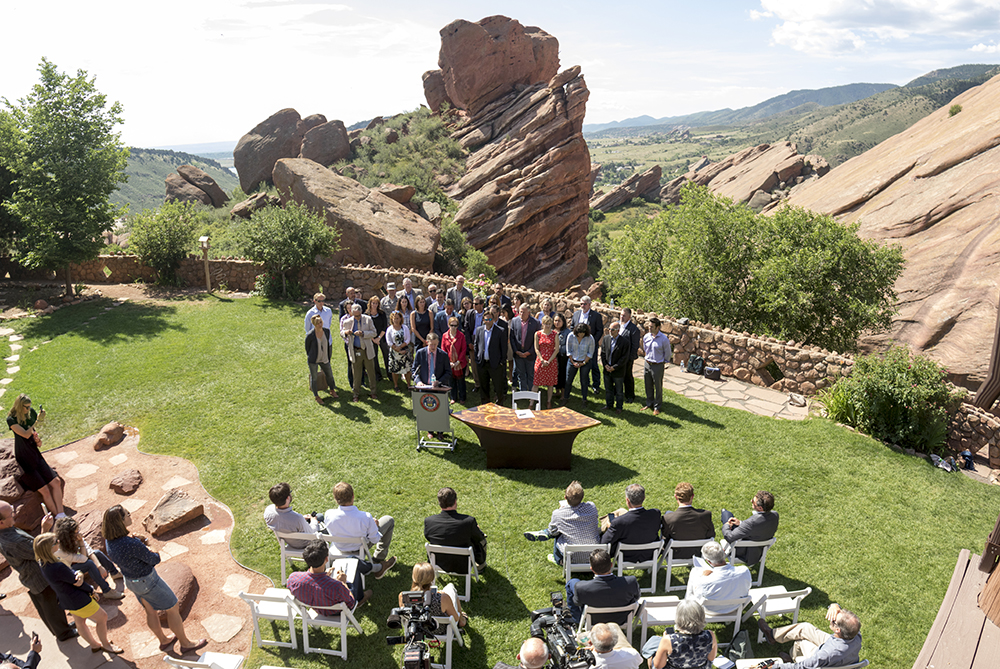 Governor John Hickenlooper holds a press conference about positioning Colorado to adhere to Paris Climate Agreement standards with or without the federal government. July 11, 2017. (Kevin J. Beaty/Denverite)