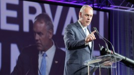 Secretary of the Interior Ryan Zinke addresses the Western Conservative Summit, July 21, 2017. (Kevin J. Beaty/Denverite)  western conservative summit; wcs; protest; cory gardner; healthcare; adapt; medicaid; denver; denverite; kevinjbeaty;