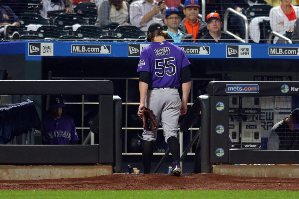 Colorado Rockies starting pitcher Jon Gray (55) leaves the game against the New York Mets during the third inning at Citi Field. Jul 14, 2017; New York City. (Brad Penner/USA TODAY Sports)