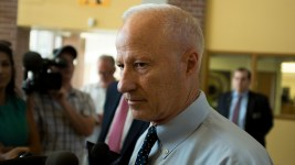 Mike Coffman speaks to press before his second town hall meeting of this legislative session, Aug. 1, 2017. (Kevin J. Beaty/Denverite)  mike coffman; copolitics; denver; denverite; colorado; politics;