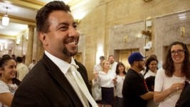 "Denver City Councilman Paul Lopez after a hearing on the ""Public Safety Enforcement Priorities"" ordinance, Aug. 28, 2017. (Kevin J. Beaty/Denverite)"