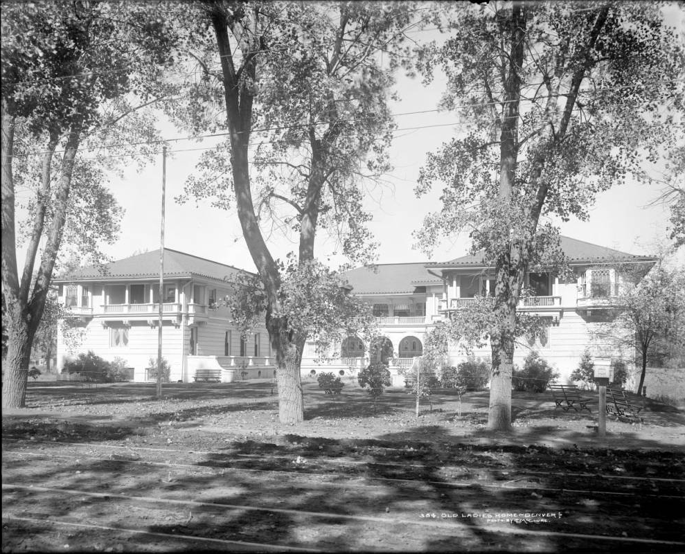 Exterior view of Old Ladies' Home on West 38th Avenue sometime between 1900 and 1910. The home was completed by Ladies' Relief Society by 1900 and later renamed Argyle Nursing Home. (L. C. McClure collection 1890-1935/Western History and Genealogy Dept./MCC-384)