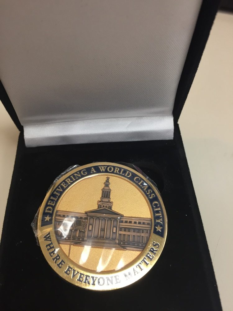 A Denver Challenge Coin. (Courtesy of the Mayor's Office)