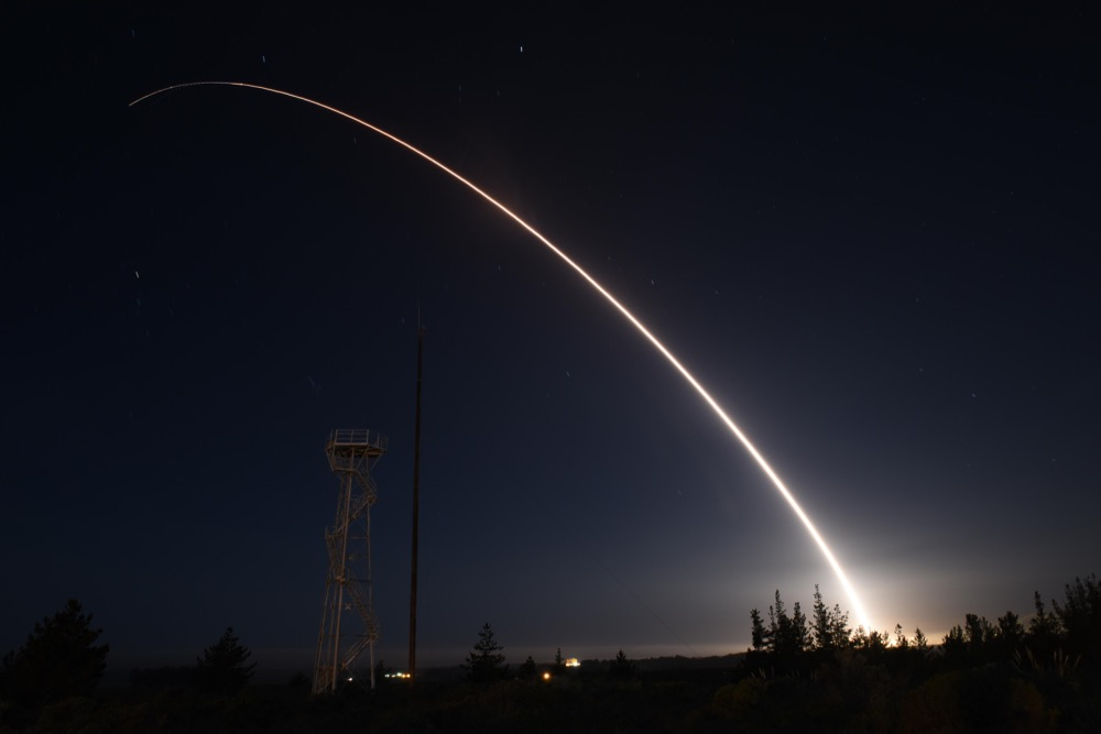 An unarmed Minuteman III intercontinental ballistic missile launches during an operational test at 11:01 p.m. Thursday, Feb. 25, 2016, Vandenberg Air Force Base, Calif. (U.S. Air Force photo by Airman 1st Class Ian Dudley/Released)