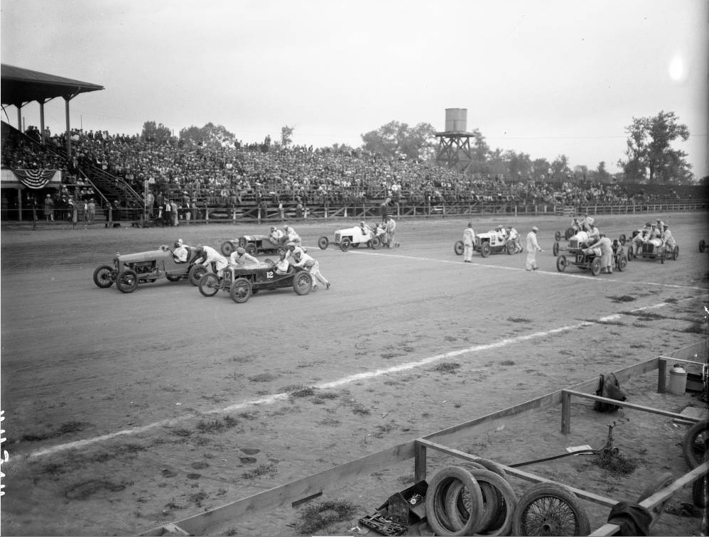 An auto race at Overland Park, likely in the 1920s. (Harry M. Rhoads/Western History & Genealogy Dept./Denver Public Library)