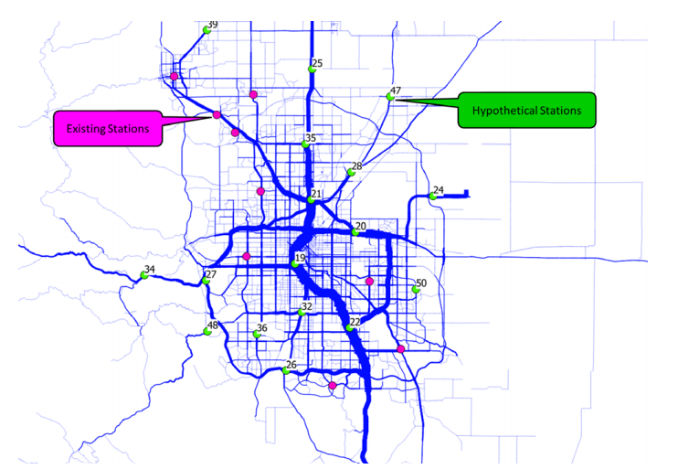 "A map of current and projected fast-charging ""Level 3"" stations for electric vehicles. (NREL)"