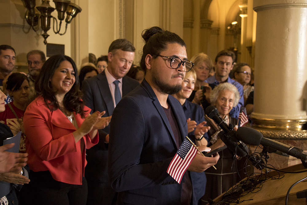 Salvador Hernandez speaks at a press conference on the possible repeal of Deferred Action for Childhood Arrivals, known as DACA, Sept. 1, 2017. (Kevin J. Beaty/Denverite)  denver; colorado; undocumented; daca; dream act; immigration; kevinjbeaty; denverite;