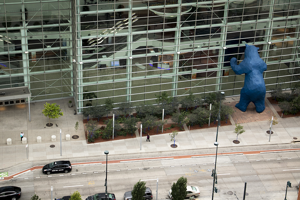 The Colorado Convention Center seen from atop the Le Meridien Hotel on California Street. (Kevin J. Beaty/Denverite)