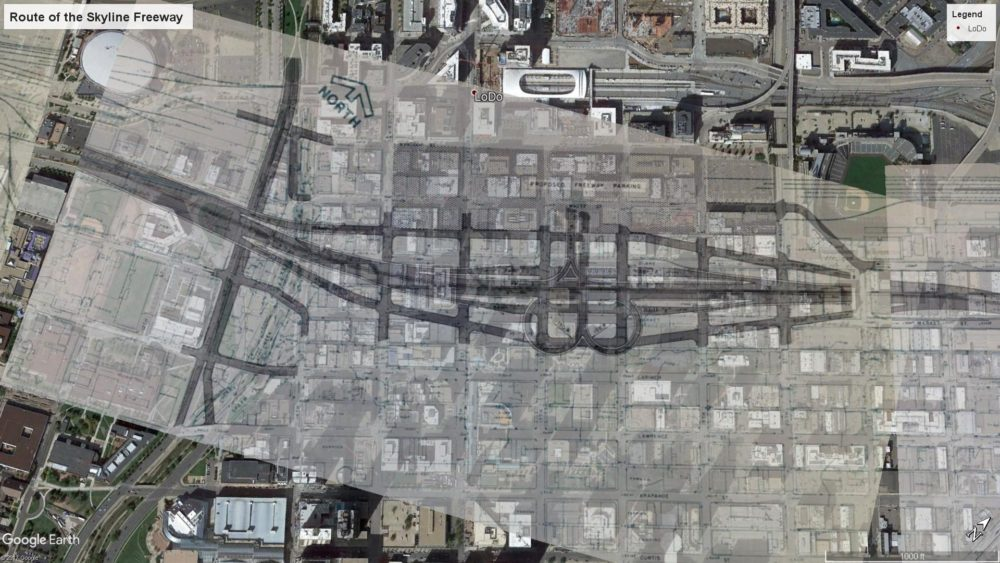 A composite image of plans for the Skyline freeway and modern-day satellite imagery. (Courtesy u/Jadebenn, Google Earth)