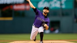 Colorado Rockies starting pitcher Tyler Chatwood (32) pitches in the first inning against the San Diego Padres at Coors Field. Sep 15, 2017; Denver, CO. (Isaiah J. Downing/USA TODAY Sports)