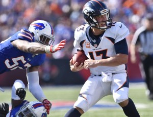 Trevor Siemian tossed two picks in Denver's Week 3 loss in Buffalo. (Mark Konezny/USA Today Sports)