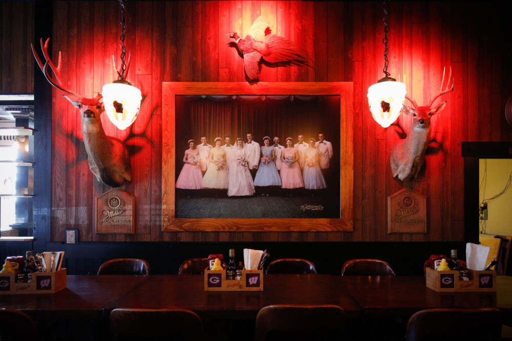 A photo from Wally Weimann's wedding hangs inside Wally's Wisconsin Tavern. (Courtesy of B Public Relations)