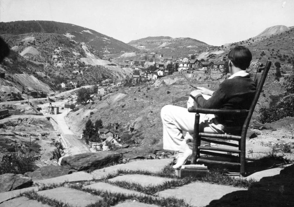 A man looks out on Central City circa 1930. (Carolina Bancroft Collection/Western History & Genealogy Dept./Denver Public Library)