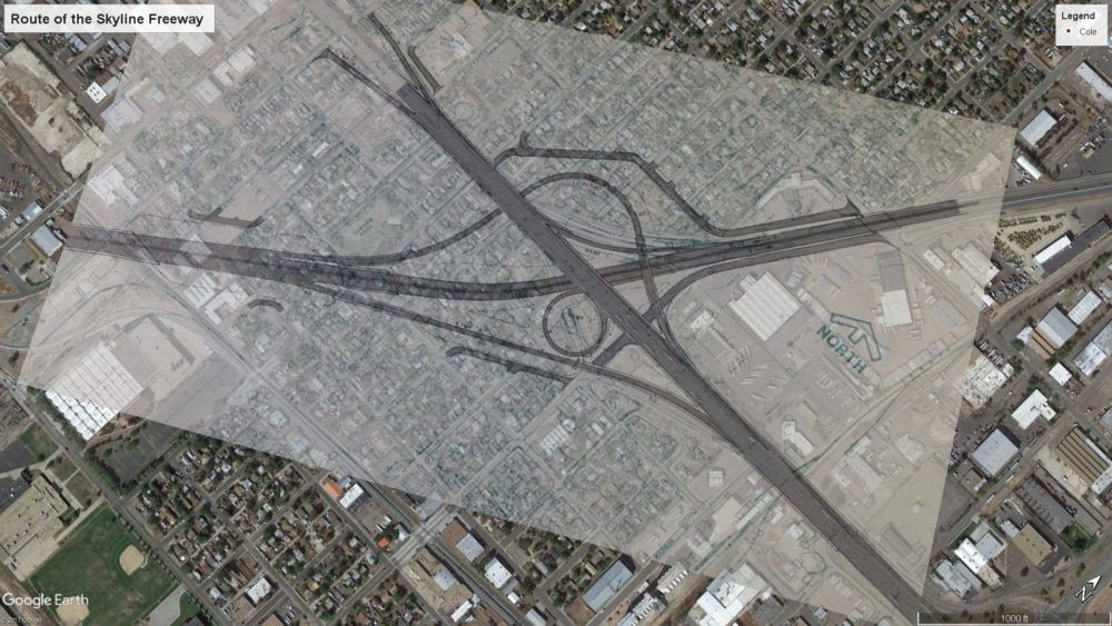 Skyline Freeway would have run through residential blocks southwest of the intersection of I-70 and Vasquez Boulevard. (Courtesy u/Jadebenn, aerial imagery from Google Earth)