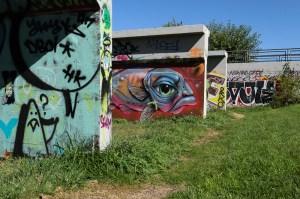 A worn path between the walls (Austin Cope/For Denverite) parks; park; Northside Park; Globeville; sal carpio