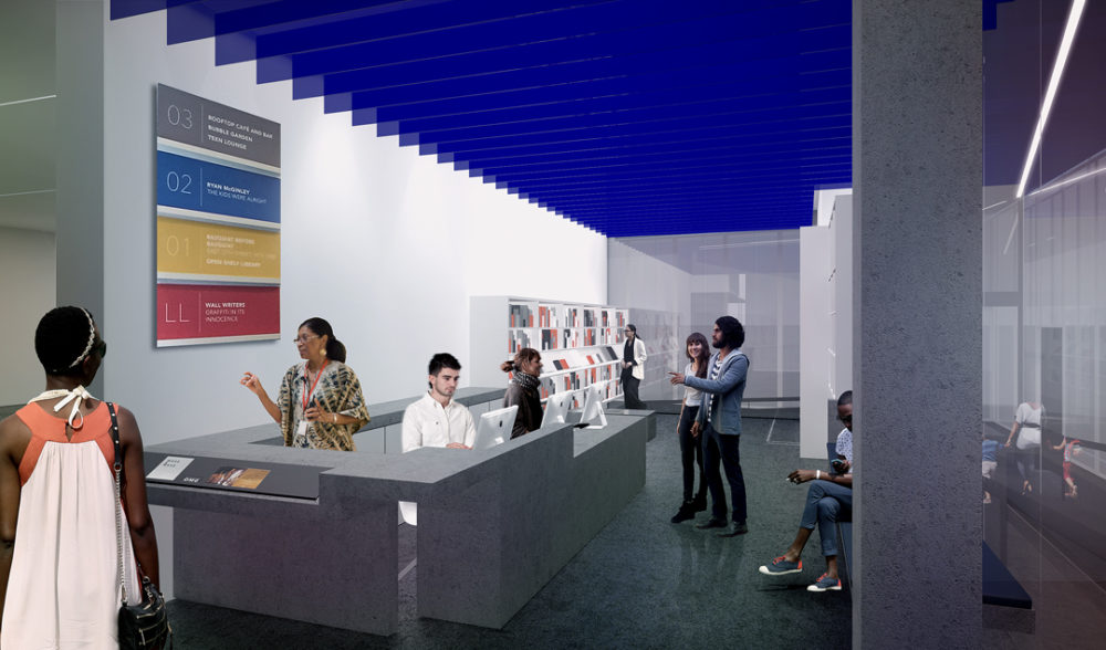 Artist's rendering of renovations in the reception area at the MCA Denver. (Courtesy of MCA Denver)