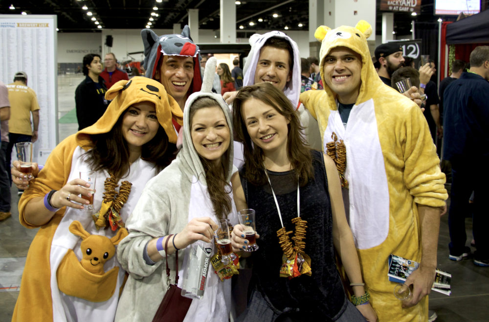 Mel, Kelsey, Maytal, Craig, Christ and Grant of Denver at the Great American Beer Festival on Thursday, Oct. 5, 2017. (Paul Karolyi for Denverite)