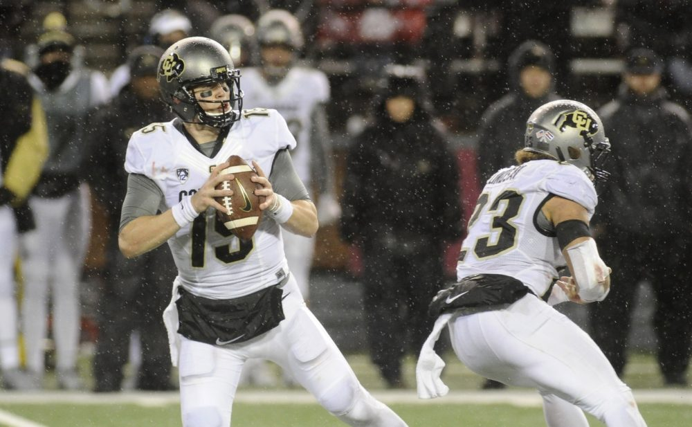 Colorado Buffaloes quarterback Sam Noyer (15) drops back for a pass against the Washington State Cougars during the second half at Martin Stadium. Oct 21, 2017; Pullman, WA. (James Snook/USA TODAY Sports)