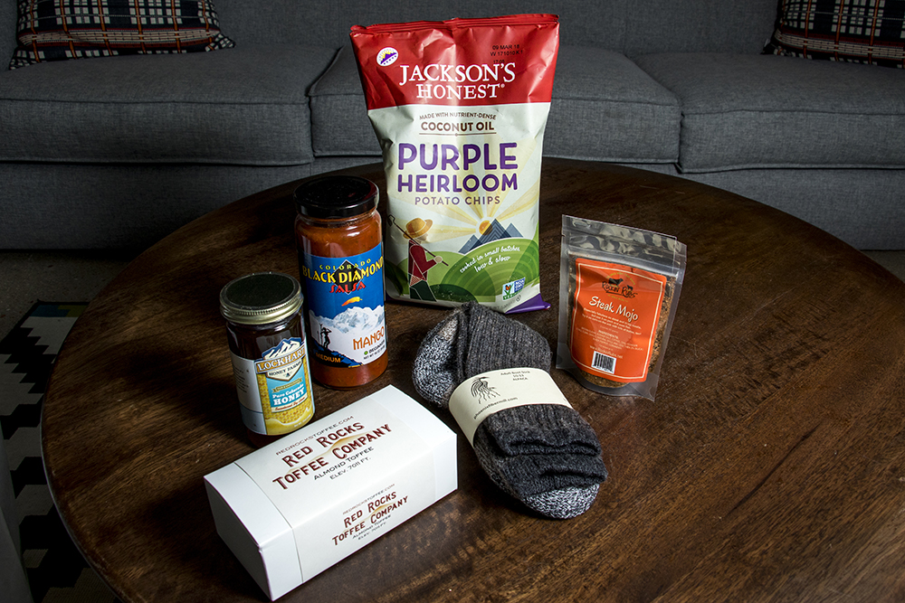 Glorious Colorado-made provisions (and some socks). (Kevin J. Beaty/Denverite)  holiday gift ideas;