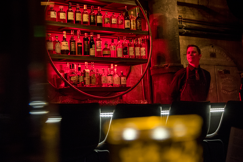 Izakaya Ronin lead bartender Dusty O'Connell in their downstairs speakeasy-style bar, Nov. 28, 2017. (Kevin J. Beaty/Denverite)  kevinjbeaty; denver; denverite; colorado; food; rino; brighton boulevard; five points; nightlife;