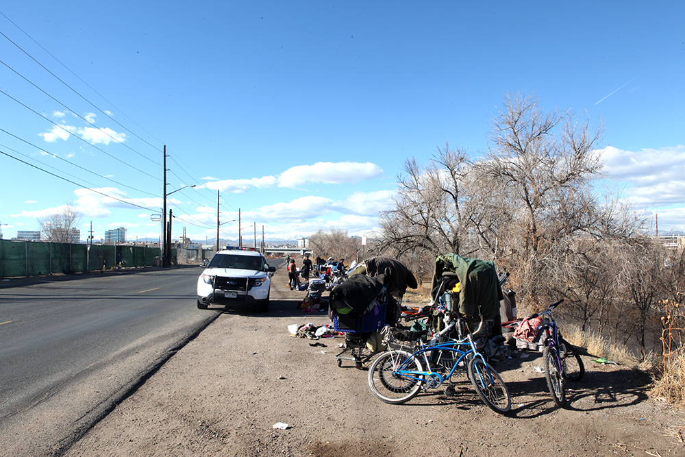 Homeless encampments near the South Platte River. (Andrew Kenney/Denverite)