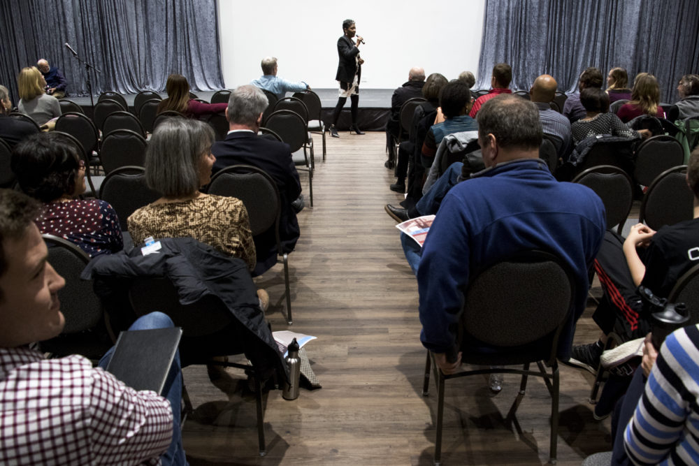 Dr. Nita Mosby Tyler leads a public meeting about Stapleton's name and whether or not to change it, Dec. 11, 2017. (Kevin J. Beaty/Denverite)  stapleton; denver; colorado; denverite; kevinjbeaty;