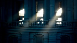 Morning sunlight gleams through the Capitol building, Dec. 12, 2017. (Kevin J. Beaty/Denverite)  denver; colorado; denverite; kevinjbeaty; gold dome; capitol building; capitol hill; cowx; weather; sunny;