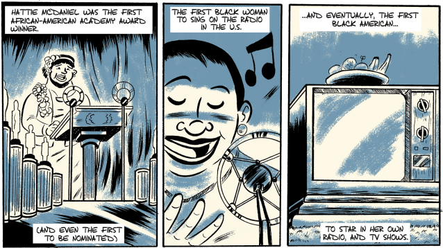 """Panels from """"Hattie McDaniel,"""" an issue of Colorful History written by R. Alan Brooks and illustrated by Zak Kinsella for Pop Culture Classroom. (Courtesy Pop Culture Classroom)"""