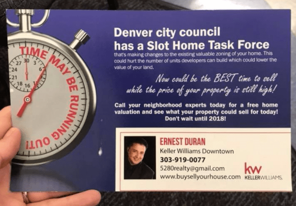 A flyer distributed in central Denver.