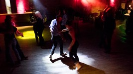 Erica Denney a d David Truong dance on a Friday night at the Cowboy Lounge, Jan. 5, 2017. (Kevin J. Beaty/Denverite)  bars; nightlife; entertainment; dancing; denver; colorado; lodo; downtown; kevinjbeaty; denverite;