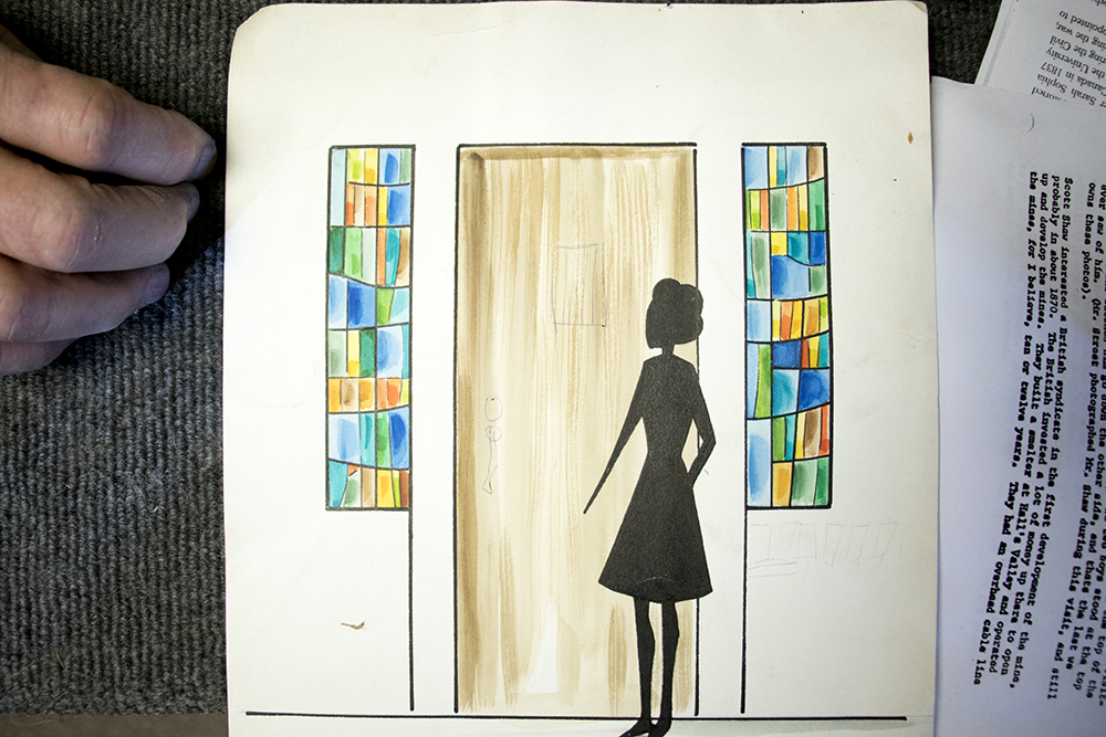 Sketches of windows for midcentury-modern homes, drawn by Phil Watkins Sr.'s wife, Alice. The workshop at Watkins Stained Glass, Jan. 18, 2018. (Courtesy: Watkins Stained Glass)  englewood; colorado; denverite; watkins stained glass; kevinjbeaty; artists;