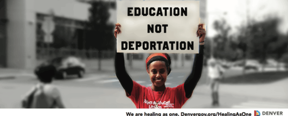 "The ""Education Not Deportation"" billboard designed by Leroy Bella at Arts Street. (Courtesy of the city and county of Denver)"
