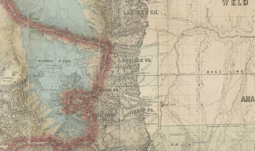 A segment of an 1865 map of the Colorado territory. (Denver Public Library)