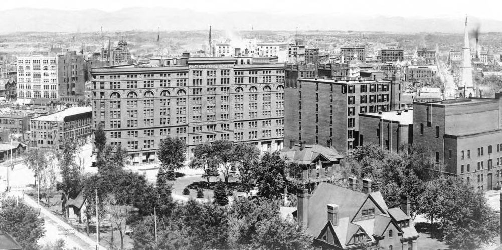 A panoramic view of Denver between 1894 and 1910, with the Brown Palace Hotel at center. (William Henry Jackson/Western History & Genealogy Dept./Denver Public Library)