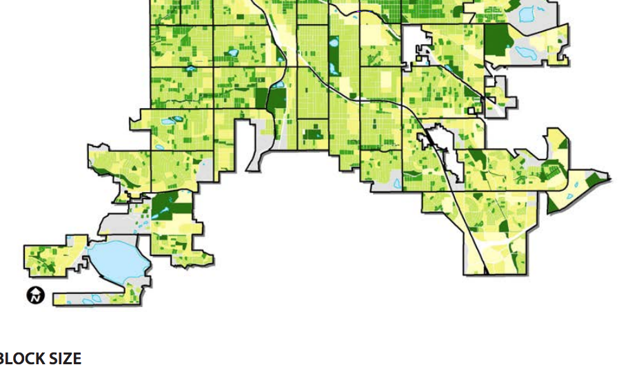 South Denver mapped by block size. (City and County of Denver)