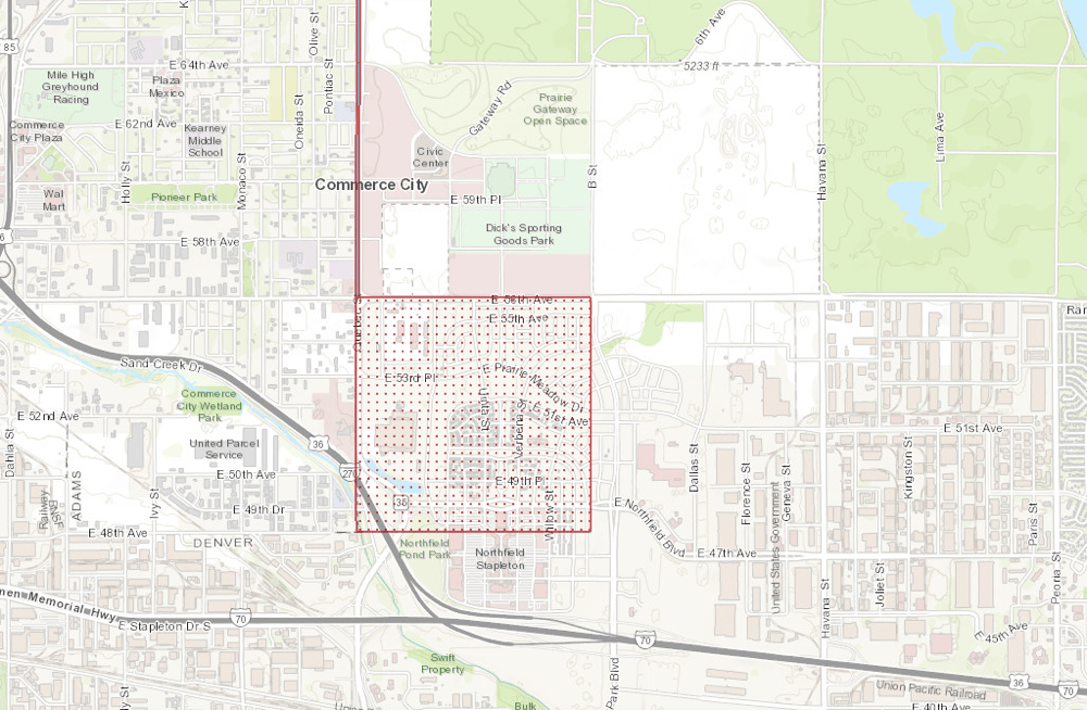 The red-dotted parcel represents subsurface mineral rights owned by the Colorado State Land Board. (CSLB)