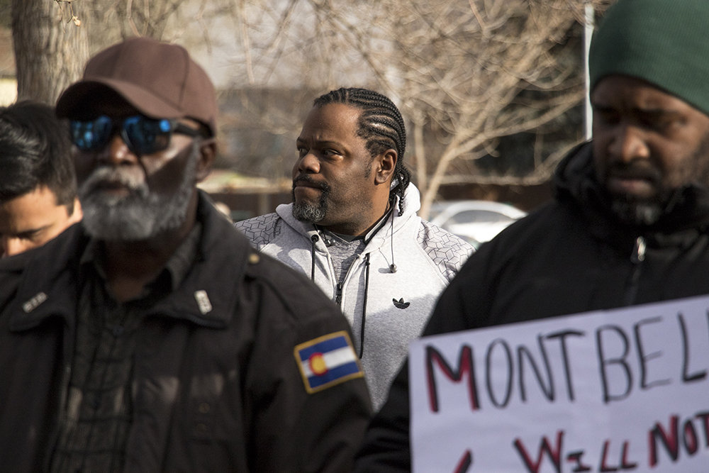 Montbello High School Coach Gayland Allen stumbled upon this rally by accident. A rally to end violence in Montbello after a rash of murders in the area. Feb. 6, 2018. (Kevin J. Beaty/Denverite)  montbello; crime; gun violence; denver; denverite; kevinjbeaty; colorado;