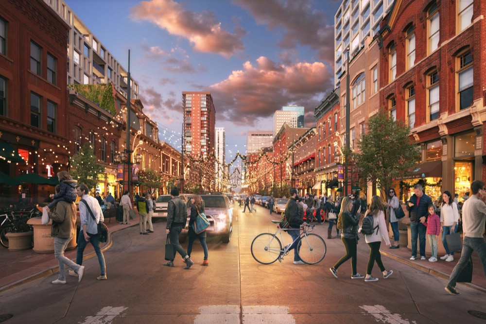 A rendering of two new buildings planned for Larimer Square. (Courtesy of Urban Villages)