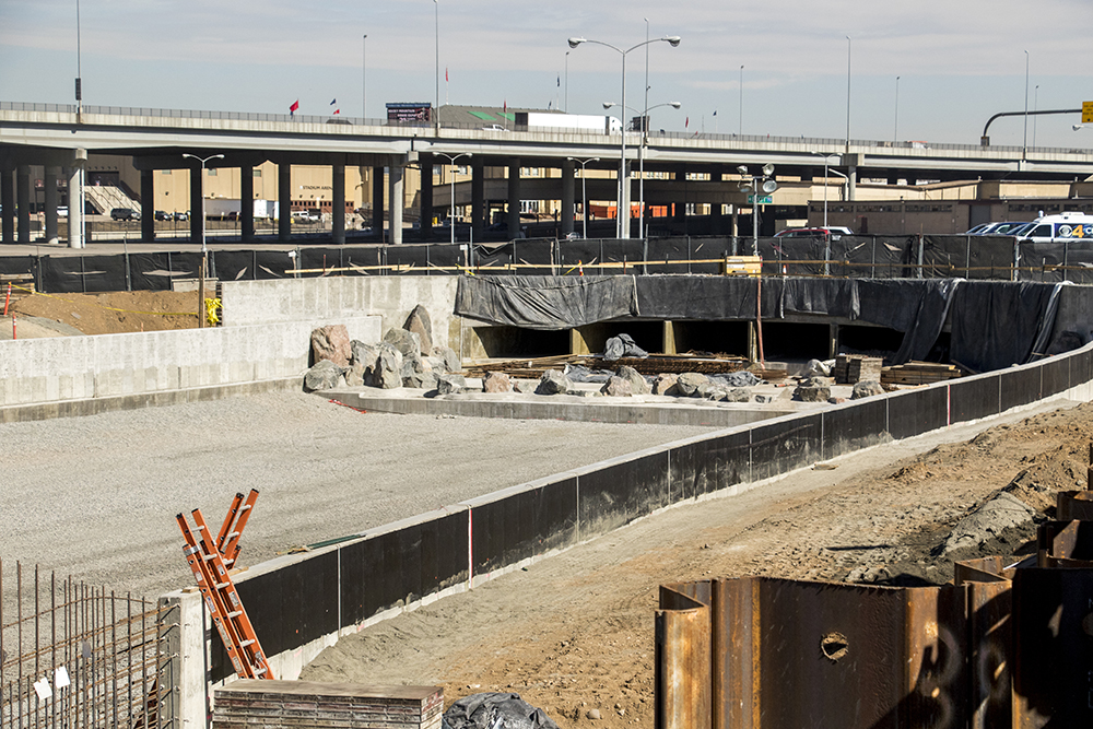 Globeville Landing Park under heavy construction. March 1, 2018. (Kevin J. Beaty/Denverite)  denver; colorado; development; construction; kevinjbeaty; denverite;