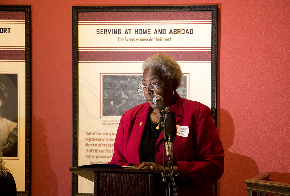 "Center for Colorado Women's History committee member and Blair-Caldwell African American Research Library Community Research Manager Charleszine ""Terry"" Nelson speaks as the Center for Colorado Women's History opens at the Byers-Evans House, March 21, 2018. (Kevin J. Beaty/Denverite)  history; museum; denver; colorado; denverite; kevinjbeaty;"