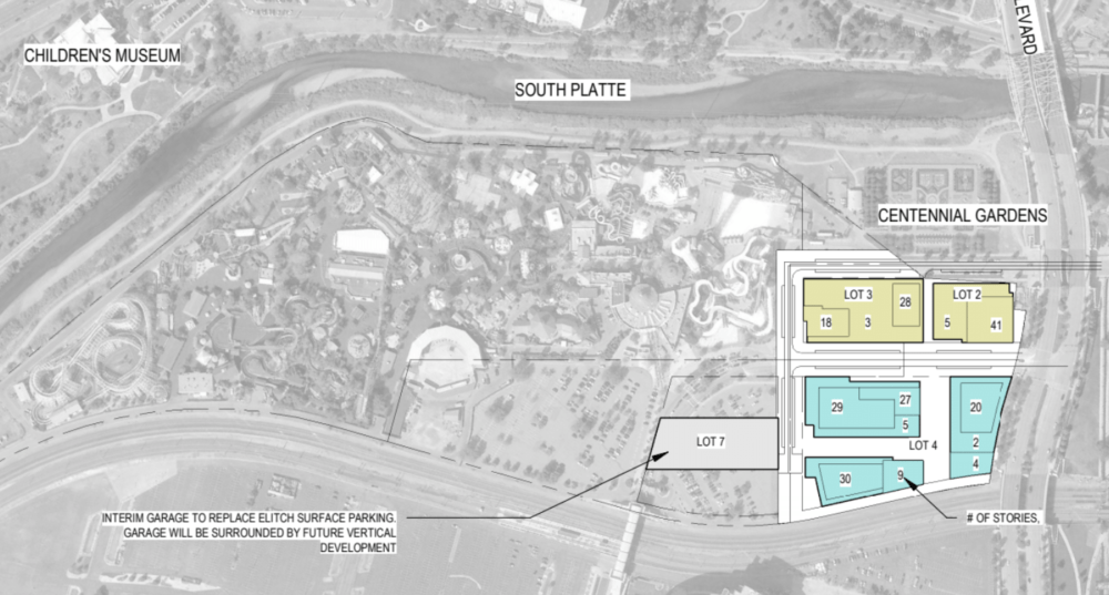 A concept plan for the first phase of River Mile would replace parking lots near Elitch Gardens. (Revesco Properties)