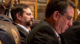 Colorado District 8 Senator Randy Baumgardner sits at his desk before his body hears a motion to expel him after allegations of sexual misconduct, April 2, 2018. (Kevin J. Beaty/Denverite)  sexual harassment; metoo; colorado state senate; denver; colorado; denverite; copolitics;