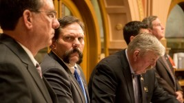 District 8 Sen. Randy Baumgardner listens as a motion to expel him after allegations of sexual misconduct fails to pass the body, April 2, 2018. (Kevin J. Beaty/Denverite)  sexual harassment; metoo; colorado state senate; denver; colorado; denverite; copolitics;