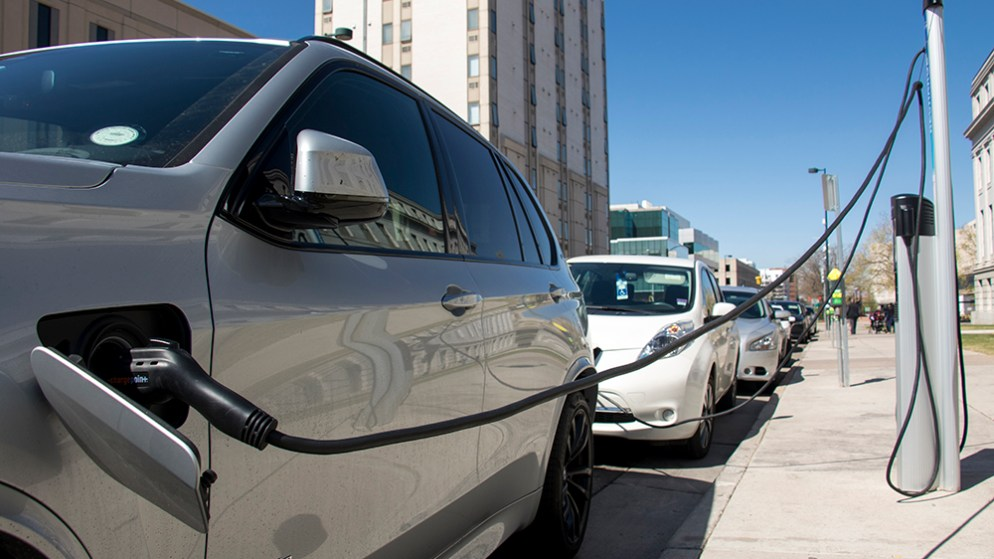 Electric cars charge at a station outside of the Denver City and County Building, April 25, 2018. (Kevin J. Beaty/Denverite)